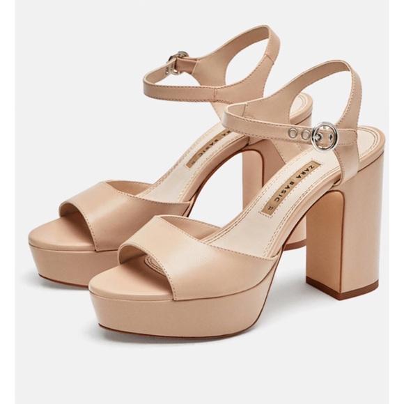 Zara Basic Leather Platform Heel Sandals S…